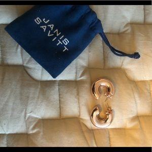 Janis Savitt chunky small hoop earrings, rose gold